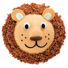 Lovable Lion Cake - This big-cat confection will be the king of any special-occasion tabletop. Alter a Soccer Ball Pan cake to create Leo's animated face; set the cake atop a mane fashioned from coconut tinted with Brown and Red-Red Icing Colors. Kids Birthday Cupcakes, Birthday Parties, Birthday Ideas, Lion Birthday Cakes, 3rd Birthday, Wilton Cake Decorating, Cake Decorating Tools, Lion Cakes, Safari Cakes