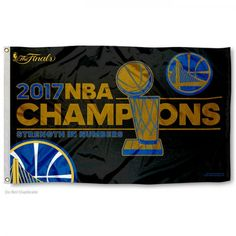 buy online 84773 95bae Warriors 2017 NBA Championship Flag measures 3x5 ft. displays Official NBA  Licensed Golden State Warriors