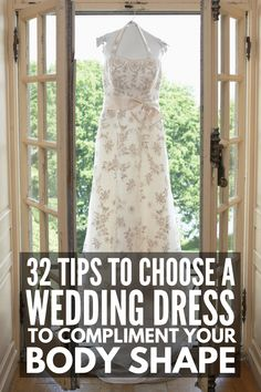 How to Choose a Wedding Dress for Your Body Type | Shopping for a wedding dress isn't always glam and glitter. Figuring out the best wedding dress style for your body shape can be overwhelming and defeating. Should you choose an A line dress? Long sleeves or short sleeves? Fit and flare, or a sheath gown? Ruffles and a lace bodice, or something simple? Click over for 32 of our best tips to help you choose the best wedding dress for YOUR body shape! Wedding Dress Body Type, Luxury Wedding Dress, Wedding Dress Sleeves, Wedding Dress Styles, Plus Size Brides, Plus Size Wedding, Pear Shaped Dresses, Wedding Prep, Wedding White