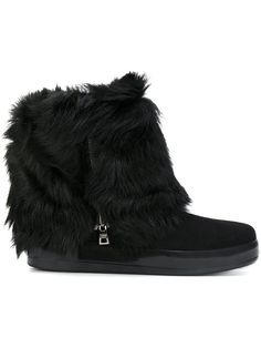 Prada Fur-trimmed Suede Boots In Black High Ankle Boots, Flat Boots, Black Leather Boots, Suede Boots, Side Zip Boots, Black Flats Shoes, Boot Shop, Prada Shoes, Boot Cuffs