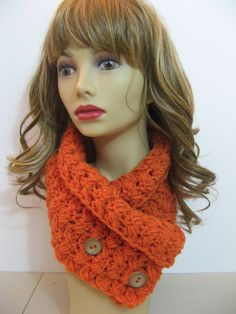Crochet criss cross cowl with buttons