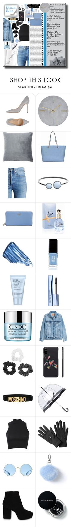 """Denim Blue"" by mxogirl ❤ liked on Polyvore featuring Oris, Sergio Rossi, House Doctor, Magaschoni, Michael Kors, RE/DONE, Skagen, Kate Spade, Sisley and JINsoon"