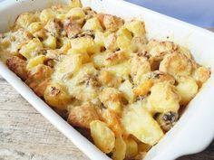 Cartofi Dauphinoise cu pui si ciuperci