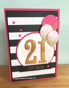 Birthday card using Stampin Up's Number of Years, Sunshine Sayings and Party Pop Up Thinlits by Jan McQueen. More info @ www.janscreativecorner.blogspot.com