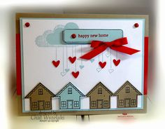 """March 2015.  Chat Wszelaki.  I borrowed her idea for stamping the clouds from the stamp set """"Hello Love"""" above the houses."""