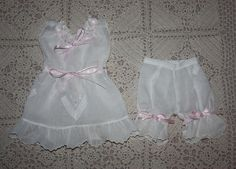 Frilly Doll Slip and Bloomers for French or German Bisque Dolls