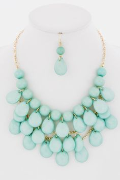 Big Bold Statement Set -- Mint -- Brighten up an outfit with this mint statement set!