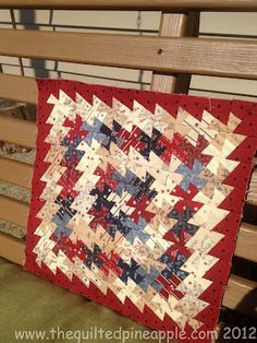 "THE QUILTED PINEAPPLE: Old Glory Itty Bitty Pinwheel Quilt 2.5"" squares and itty bitty template after!"