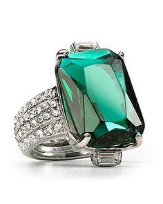 ABS by Allen Schwartz Large Emerald Stone Pavé Ring