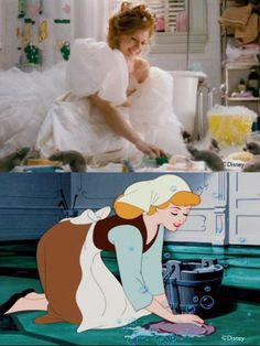 Some of the scenes in enchanted that reference classic Disney movies