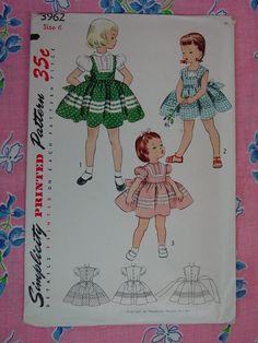 Vintage Pattern c.1952 Simplicity No.3962 Girls Dress, Size 6