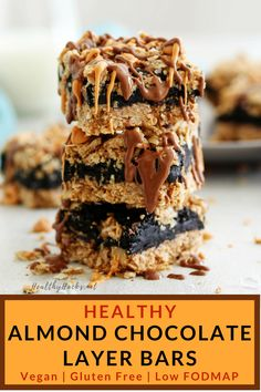 These simple and easy Almond Chocolate Layer Bars are rich and decadent, but also healthy and refined sugar free! They're full of wholesome ingredients like oats, coconut, and almonds so they're…More Healthy Vegan Desserts, Lemon Desserts, Gluten Free Desserts, Dairy Free Recipes, Easy Healthy Recipes, Healthy Eating, Healthy Cookies, Vegan Sweets, Vegan Foods