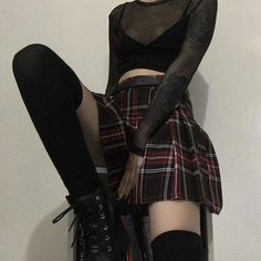 subtle goth outfit uploaded by ; widya ♡✦ on We Heart It Grunge Outfits, Edgy Outfits, Mode Outfits, Fashion Outfits, School Outfits, Fashion Styles, Summer Outfits, Fashion Ideas, Hipster Outfits