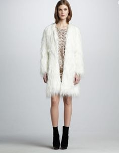 Rachel Zoe Petra Faux Fur White Ivory Shag Jacket Coat Size 4 NWT Ret: $425. #RachelZoe #BasicCoat