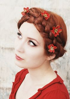 braid with touches of flowers.
