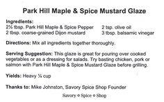Park Hill Maple & Spice Mustard Glaze