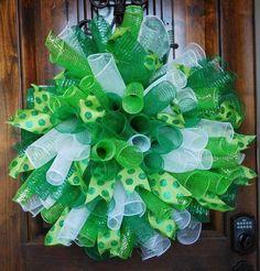 "Custom Made - Huge, Fluffy, Deco Mesh Spirals Wreath - XL - 31"" St Patrick's Day #Handmade"