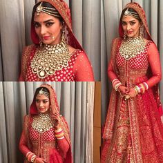Indian bride wearing bridal lehenga and jewelry. Indian Bridal Fashion, Indian Bridal Wear, Asian Bridal, Indian Wedding Outfits, Bridal Outfits, Indian Wear, Indian Outfits, Bridal Dresses, Indian Weddings