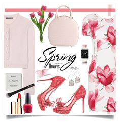 """Spring Tulips"" by brendariley-1 ❤ liked on Polyvore featuring Armani Jeans, Alexander McQueen, Valentino, Simone Rocha, Casetify, Natures Jewelry, OPI, Clarins, Byredo and Beauty Is Life"