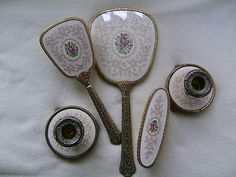 Vintage 5 Piece Regent of London Petit Point Vanity / Dressing Table Set#Repin By:Pinterest++ for iPad#