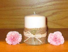 Wedding Pillar Candle / Rustic Wedding by CarolesWeddingWhimsy, $24.99