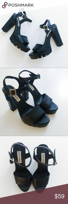 """Steve Madden chunky sandals heels These are unbelievably comfortable! The chunky heel really helped my feet for walking around for many hours! Got lots of compliments wearing these. Wore them at indoor parties that's why they look brand new.  No box. Great condition. Use """"offer"""" button. NO TRADES. Steve Madden Shoes"""