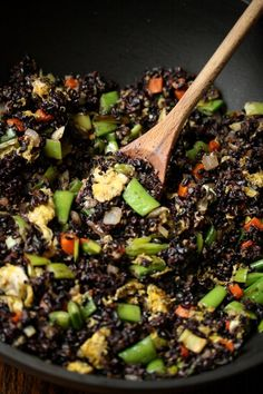 Fried Forbidden Black Rice Recipe with Snap Peas and Scallions | Gluten-Free | Healthy Chinese (add lots more sriracha and top with diced avocado)