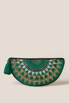 The Samba Beaded Clutch in Green features a half moon shaped clutch with green and gold beads throughout. Gold Clutch, Beaded Clutch, Beaded Bags, Clutch Bag Pattern, Green Clutches, Embroidery Bags, Leather Pouch, Leather Wallets, Samba