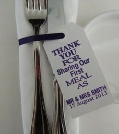 Wedding Napkin Holders-Wedding Table Decor-Elegant WhiteTags-Thank You for Sharing Our First Meal-Set of 50-Unique Wedding Favors on Etsy, $61.46 AUD