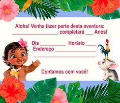 convite moana para editar e imprimir Baby Moana, Festa Moana Baby, Moana Birthday Party, Moana Party, Moldes Para Baby Shower, Birthday Invitations, Alice, Disney, Maria Clara