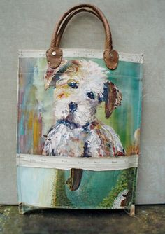 Swarm Home Delights Dog Lover Gifts, Dog Lovers, Painted Bags, Animal Fashion, Custom Bags, Fabric Art, Handmade Bags, Dog Art, Leather Handle