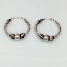 5bf6d8636 Silver wire hoop earrings for men, thin sterling silver hoop earrings, 543A Hoop  Earrings