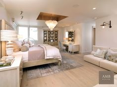 Beautiful bedroom with a unique ceiling detail  Design by Anne Marie Barton…