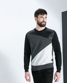 ZARA - NEW COLLECTION - FAUX LEATHER GEOMETRIC SWEATSHIRT WITH SEAMS