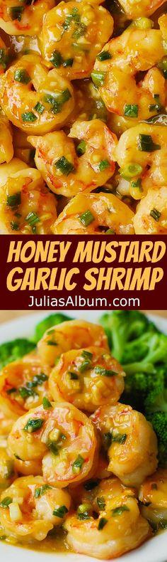Honey Mustard Garlic Shrimp - easy 30 minute dinner or appetizer recipe!