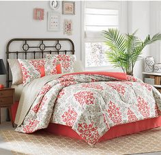 pink & coral Damask Beach queen size Comforter Set (6 Piece Bed In A Bag) NEW!