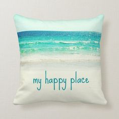 Beach Happy Place Word Pillow - tap, personalize, buy right now!  #ocean #quote #pillow #aqua #ocean Beach Chic Decor, Beach Cottage Decor, Beach Cottage Exterior, Beach House Furniture, Beach House Tour, Nautical Bedding, Beautiful Beach Houses, Beach House Kitchens, Beach Cottages