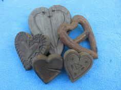Five 5 Heart Molds or Stamps 1880s