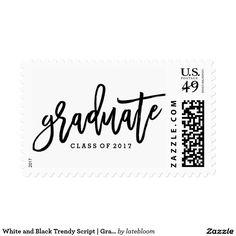 White and Black Trendy Script | Graduation Postage