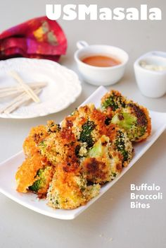 US Masala: Baked Buffalo Broccoli Bites!
