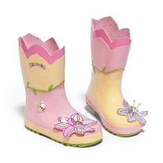 More than just a pair of boots, these playful puddle magnets make a wonderful gift. Cute rain boots from Kidorable. Made of natural rubber, they are guaranteed to be the cutest boots in your neighborhood. Featuring a pink lotus flower applique design for