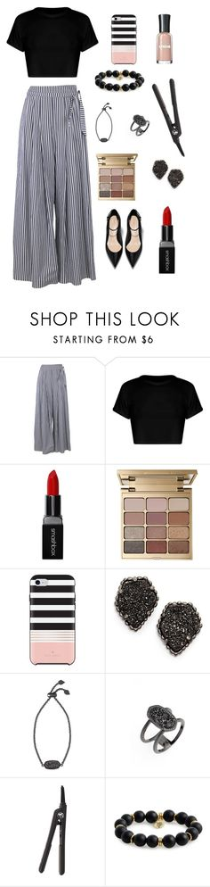 """power look (ps i have this nail polish and i absolutely LOVE it!)"" by lauren-ka ❤ liked on Polyvore featuring Federica Tosi, Smashbox, Stila, Kate Spade, Kendra Scott, Royale, Bourbon and Boweties and Sally Hansen"