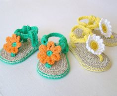 Baby Flower Sandals CROCHET PATTERN Easy Tutorial Baby Sandals Daisy Flowers Summer Baby