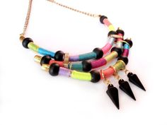 Native inspired necklace tribal bohemian black spikes colorful jewerly on Etsy, $38.00