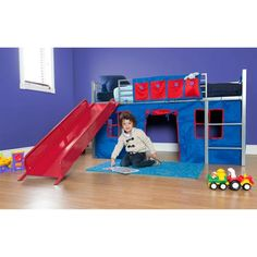 Boys Twin Loft Bed with Slide, Grey and Red - Walmart.com