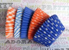 Assorted Blue and Orange Cupcake Liners  by BakersBlingShop, $6.95