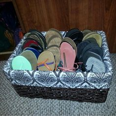 Who said flip flops need to take up space in your closet? Grab a pretty basket for storage.
