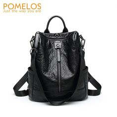 3a42f0ca0347c POMELOS Backpack Women Brand New Vintage Soft Leather PU Back Pack Rucksack  Anti Theft Design School