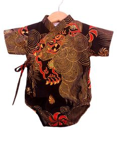 Red Dragon kimono bodysuit onesie japanese baby by koolmono