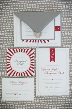 An Election Day inspired invitation suite. Photography by theomilophotography.com, Paper Goods by atheneumcreative.com